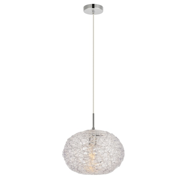 Lilou Collection Pendant D11.8'' H9.3 Lt:1 Chrome and Clear Finish