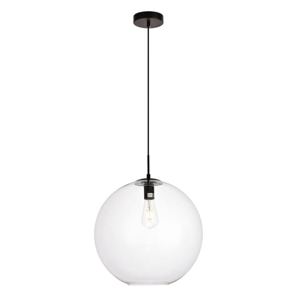 Placido Collection Pendant D15.7 H16.5 Lt:1 Black and Clear Finish