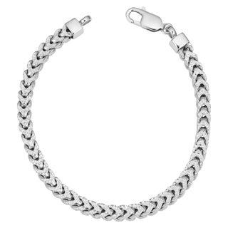 Fremada Men's Rhodium Plated Sterling Silver 5.2 millimeters Franco Bracelet (8.5 inches)