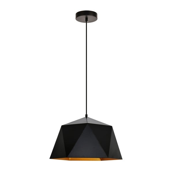 Arden Collection Pendant D15.0'' H9.6 Lt:1 Black and Golden inside Finish