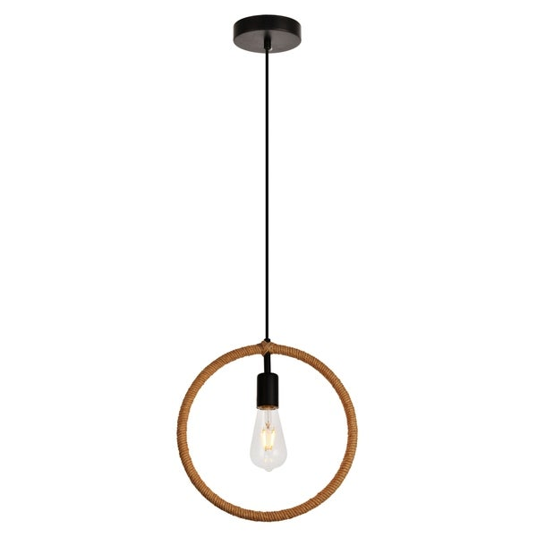 Gerrit Collection Pendant D12.4 H12.8 Lt:1 Black and Brown Finish
