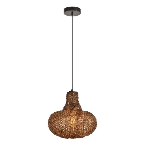 Finola Collection Pendant D11.8'' H12.6 Lt:1 Black and Coffee Finish