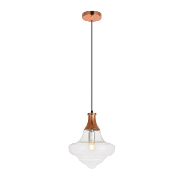 Topper Collection Pendant D10.6 H12.9 Lt:1 Copper and clear Finish