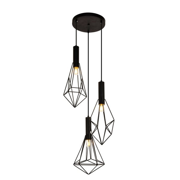 Jago Collection Pendant D16.0'' H30.4 Lt:3 Black Finish