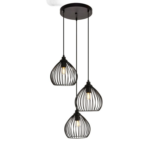 Sayer Collection Pendant D16.0'' H23.1 Lt:3 Black Finish