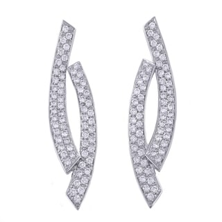 14k White Gold 1.7 Carat Post Drop Double Curved Earrings