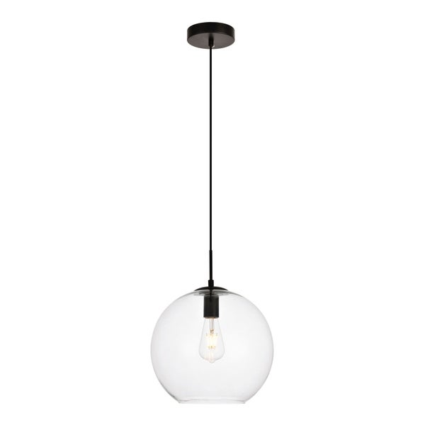 Placido Collection Pendant D11.8 H11.4 Lt:1 Black and Clear Finish