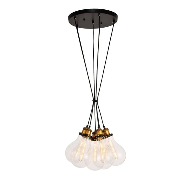 Watts Collection Pendant D16.5'' H10.6 Lt:6 Black and Brass and Clear Finish