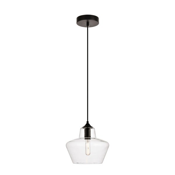 Placido Collection Pendant D9.8 H9.3 Lt:1 Black and Clear Finish