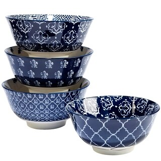 Certified International Blue Indigo 4.75 inch Tidbit Bowl with Assorted Designs Set of 4