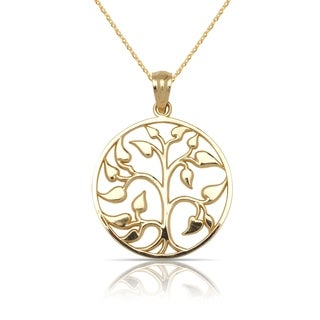 "10K Yellow Gold Medium Polished Tree of Life Circle Pendant Necklace (16"") (15mm x 20mm)"