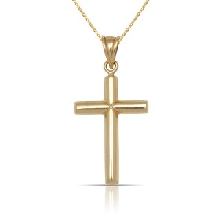 """10K Yellow Gold Tailored Polished Tube Cross Pendant Necklace (16"""") (15mm x 28mm)"""