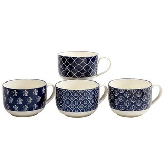 Certified International Blue Indigo 32 oz. Jumbo Cups in Assorted Designs Set of 4