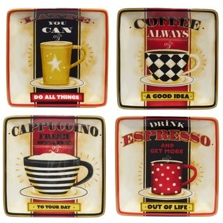 Certified International Coffee Always 6 inch Canape Plate in Assorted Designs Set of 4