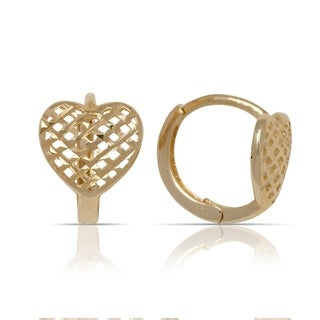 10K Yellow Gold Textured Heart Small Hinged Hoop Earrings (8mm x 10mm) - Orange