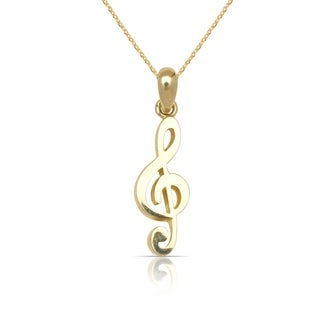 """10K Yellow Gold Polished Clef Music Note Pendant Necklace (16"""") (6mm x 22mm)"""