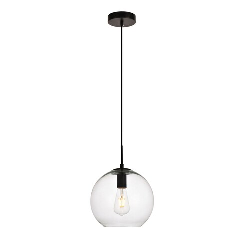 Placido Collection Pendant D9.8 H9.8 Lt:1 Black and Clear Finish