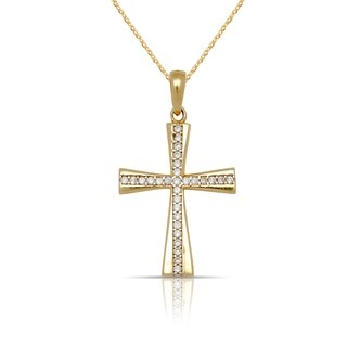 10K Yellow Gold Cubic Zirconia Flared Cross Pendant Necklace (16-Inch) - White