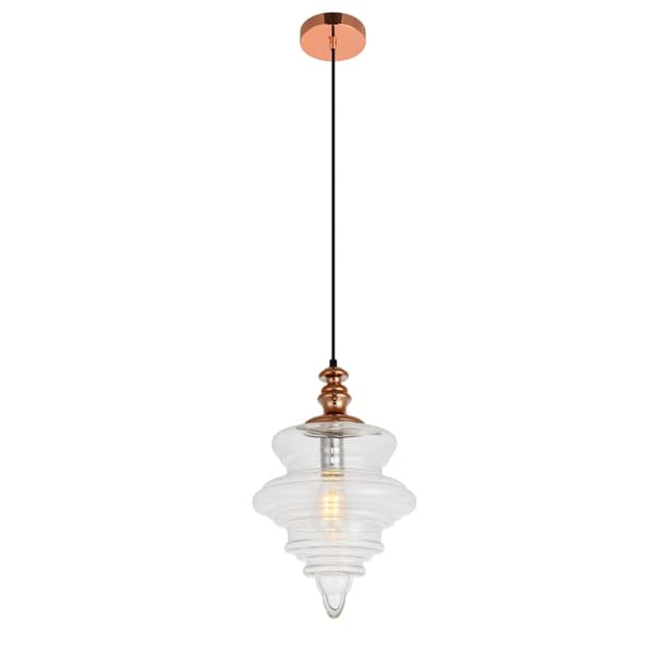 Topper Collection Pendant D10.6 H16.6 Lt:1 Copper and clear Finish