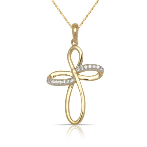 10K Yellow Gold Cubic Zirconia Infinity Ribbon Cross Pendant Necklace (16-Inch) - White