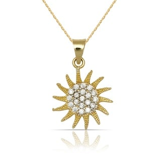 10K Yellow Gold Small Cubic Zirconia Textured Sun-burst Pendant Necklace (16-inch) - White