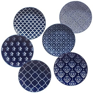 Certified International Blue Indigo 6 inch Canape Plates in Assorted Designs Set of 6