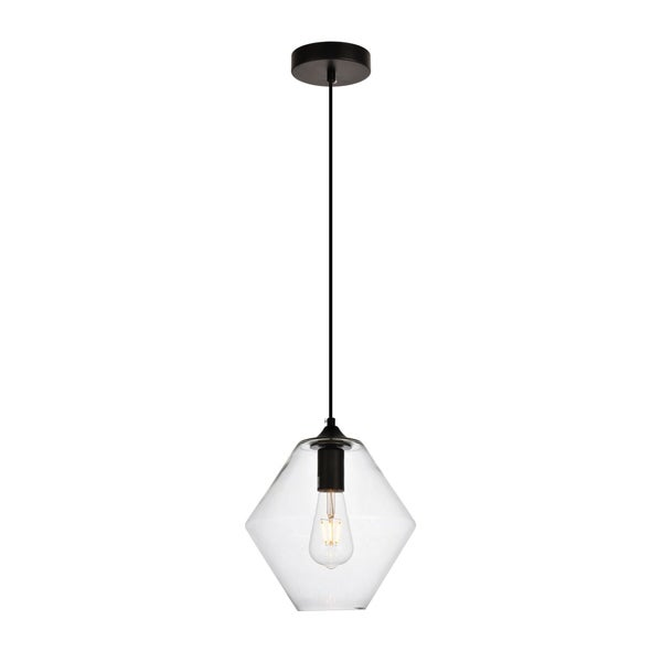 Placido Collection Pendant D9.4 H10.8 Lt:1 Black and Clear Finish