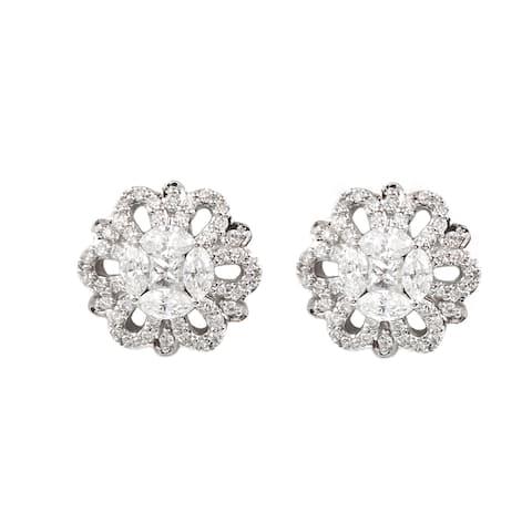 14k White Gold 1 Carat Flower Stud Earrings
