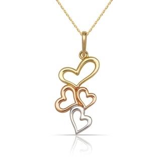 "10K Tri-color Gold Cascading Hearts Pendant Necklace (16"") (10mm x 22mm)"