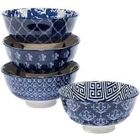 Certified International Blue Indigo 6 inch Ice Cream Bowls with Assorted Designs Set of 4