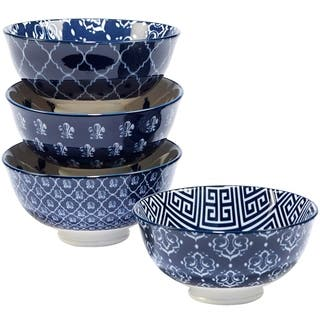 Certified International Blue Indigo Assorted Ice Cream Bowls, Set of 4