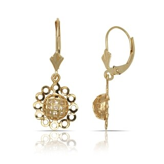 10K Yellow gold Textured Large Flower Drop Dangling Leverback Earrings (12mm x 26mm) - Orange