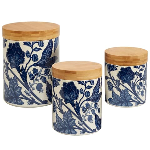 Certified International Blue Indigo 3-piece Canister Set with Wooden Lids