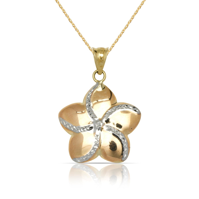 Shop 10k Tri Color Gold Large Plumeria Flower Pendant Necklace 16