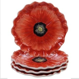 Certified International Poppy Garden 3-D Dessert Plates - Set of 4
