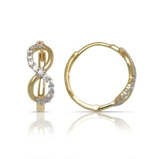10K Yellow Gold Cubic Zirconia Infinity Hinged Medium Hoop Earrings (6mm x15mm) - Orange