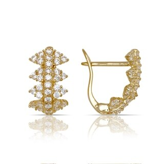 10K Yellow Gold Cubic Zirconia Geometric Cluster Leverback Earrings (7mm x13mm) - Orange
