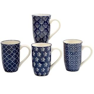 Certified International Blue Indigo 20 oz. Latte Mugs in Assorted Designs Set of 4
