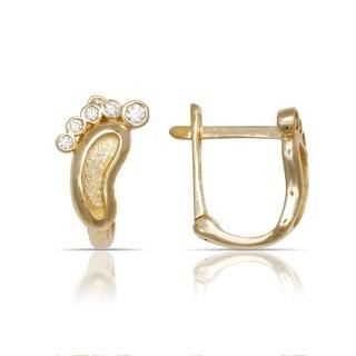 10K Yellow Gold Cubic Zirconia Baby's Footprints Leverback Earrings (5mm x12mm) - Orange