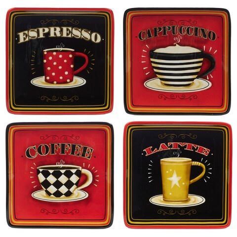 Certified International Coffee Always 8.75 inch Salad Plate in Assorted Designs Set of 4