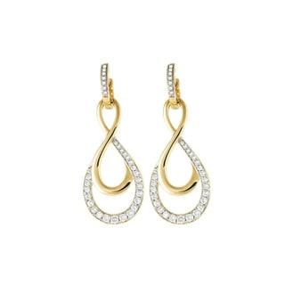 14k Yellow Gold 1 Carat Swirling Diamond Hoop Earrings