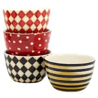 Certified International Coffee Always 5.5 inch Ice Cream Bowls in Assorted Designs Set of 4