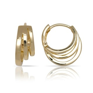 10K Yellow Gold Three-row Graduated Tailored Hoop Earrings (7mm x 14mm) - Orange
