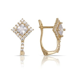 10K Yellow Gold Princess Cubic Zirconia Art Deco Leverback Earrings (10mm x15mm) - Orange