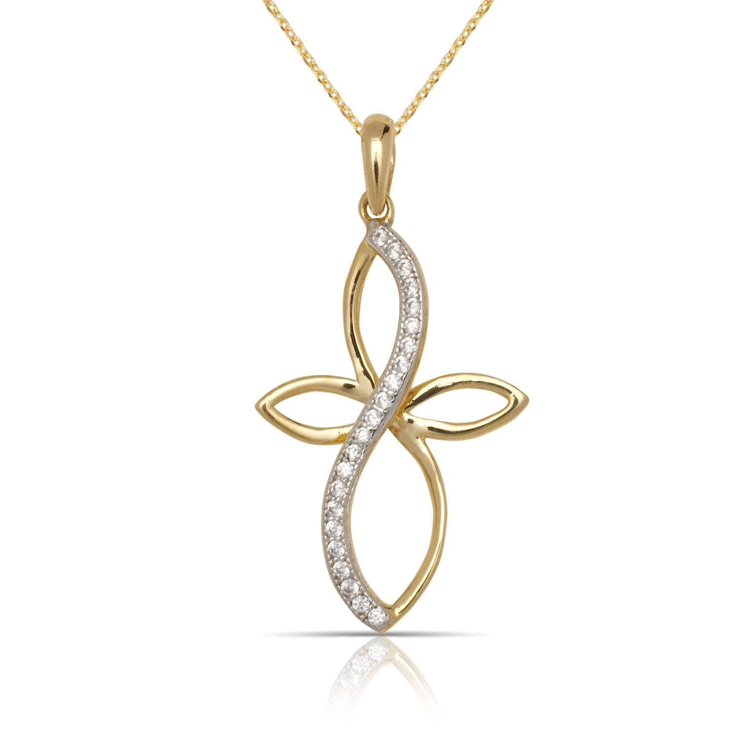 4abec3f5ebe18d 10K Yellow Gold Cubic Zirconia Infinity Ribbon Cross Pendant Necklace  (16-Inch)