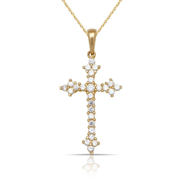 cd5cb67a0d0568 Shop 10K Yellow Gold Cubic Zirconia Fleur de Lys Cross Pendant Necklace  (16-Inch) - White - Free Shipping Today - Overstock - 18063287