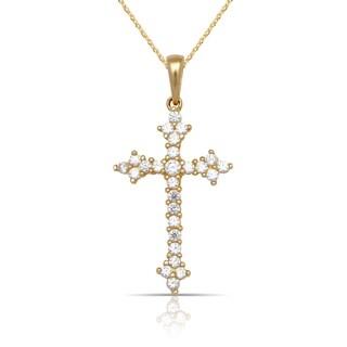 10K Yellow Gold Cubic Zirconia Fleur de Lys Cross Pendant Necklace (16-Inch) - White