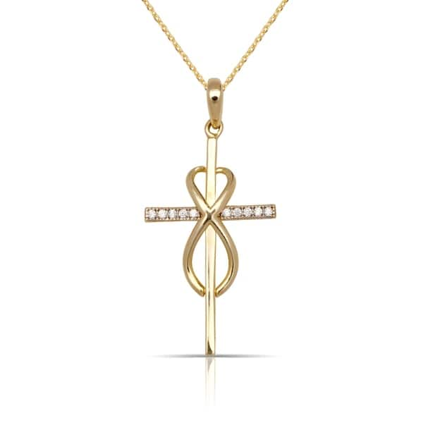 e186250c7b6b68 10K Gold Vertical Infinity Cubic Zirconia Cross Pendant Necklace (2 color  options) - White. Image Gallery