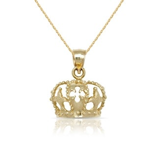 "10K Yellow Gold Textured Large Crown Pendant Necklace (16"") (20mm x 25mm)"