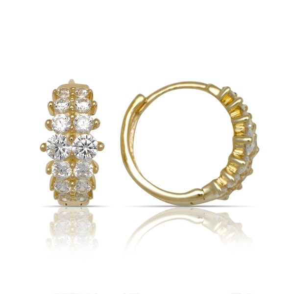beb592315 Shop 10K Yellow Gold Double-row Round Cubic Zirconia Hinged Hoop Earrings  (5mm x12mm) - Orange - On Sale - Free Shipping Today - Overstock - 18063290